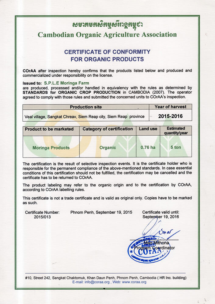 Certificate of Conformity for Organic Products